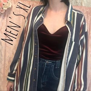 Vintage 90s Primary Vertical Striped Collared Red